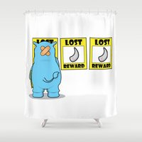 rhino Shower Curtains featuring rhino by chee weng