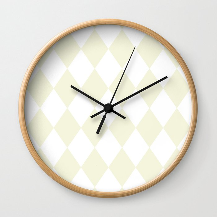 Diamonds (Beige/White) Wall Clock
