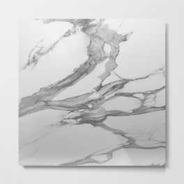 White Marble With Silver-Grey Veins Metal Print