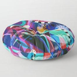 Night life, Wassily Kandinsky inspired geometric abstract art Floor Pillow