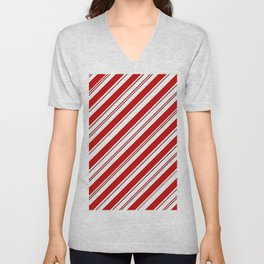 winter holiday xmas red white striped peppermint candy cane Unisex V-Neck