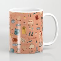 budapest hotel Mugs featuring Budapest Hotel Plot Pattern by Dan Lehman | QRS