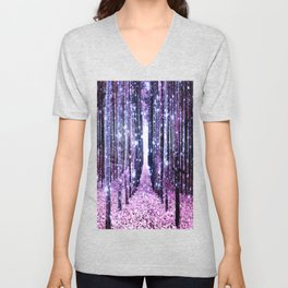 Magical Forest Path Lavender Pink Periwinkle Unisex V-Neck