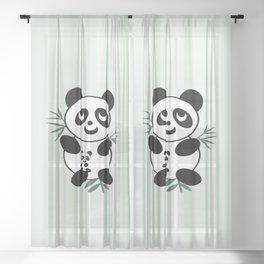 Panda mom and Baby Sheer Curtain