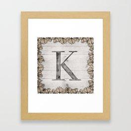 Neutral Monogram K Framed Art Print