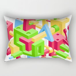 Abstract Geometric Hi-Tech Background with Colorful 3D Objects Rectangular Pillow