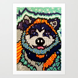 Larry Designer Dog Series Puppy Colorful Bright Huskey Eskimo Sleddog Siberian Chinook Breeds Art Print