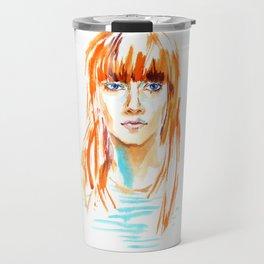 fashion #20. girl with bright orange hair and blue eyes Travel Mug