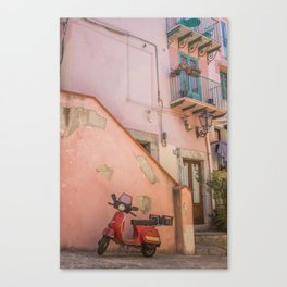 Red Scooter in Sicily Canvas Print
