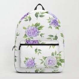 Hand painted lavender violet green watercolor floral Backpack