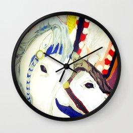 Carousel Horses Seaside Amusements Fine Art Wall Clock