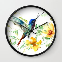 Hummingbird and Flowers, floral design Hawaiian tropical Wall Clock