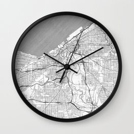 Cleveland Map Line Wall Clock
