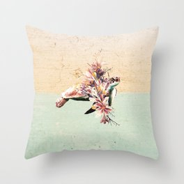 Turtle and bouquet Throw Pillow