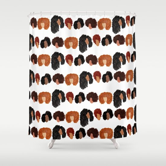 Natural Hair Girls Shower Curtain By Bouffants And Broken Hearts