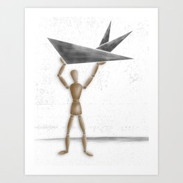 Man With Triangles - Grey Art Print