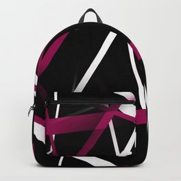 Seamless Rose Pink and White Stripes on A Black Background Backpack