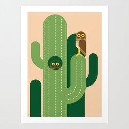 Burrowing owls and cacti vector illustration Art Print