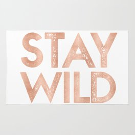 STAY WILD Rose Gold on Black Rug