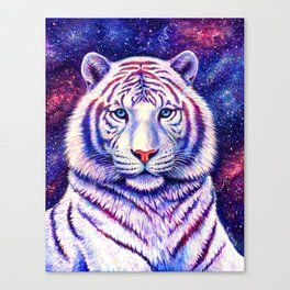 Among the Stars Colorful Cosmic White Tiger Canvas Print