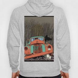 Rusted old truck, wolf skull, raven. Hoody