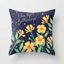 Chin Up Buttercup Throw Pillow