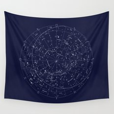 Constellation Map Indigo Wall Tapestry