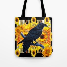GRAPHIC BLACK CROW & YELLOW SUNFLOWERS ABSTRACT Tote Bag