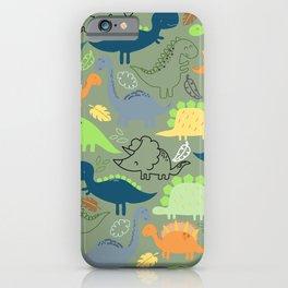 Dinosaurs jungle pattern iPhone Case