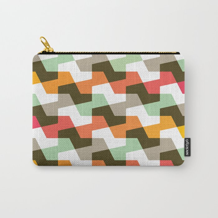 Geometric Pattern #56 (mint orange red) Carry-All Pouch