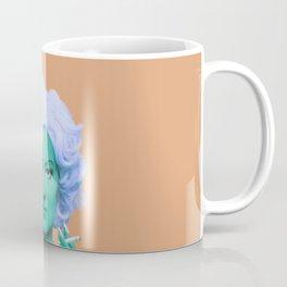 Pop art lady smoking and drinking green skin and orange background Coffee Mug