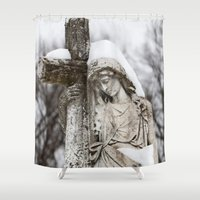 religious Shower Curtains featuring Religious Statue by Legends of Darkness Photography