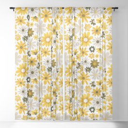 Dazzling Daisy Meadow - Mustard Sheer Curtain