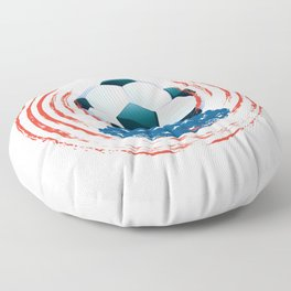 Football Ball and red, white Strokes Floor Pillow