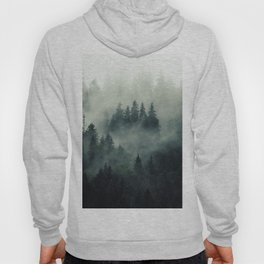 Misty pine fir forest landscape in hipster vintage retro style Hoody