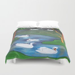 A Flock of Seven Swans-A-Swimming Duvet Cover