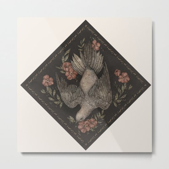 Dove and Flowers Metal Print