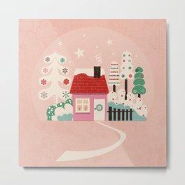 Festive Winter Hut in pink Metal Print