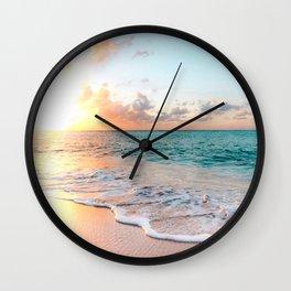 Tropical Sunset Beach, Sunset Photo Wall Clock