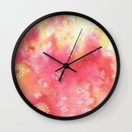 Water colors 3 - Pink and yellow corals Wall Clock