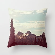 Vintage Mountain Ridge Throw Pillow