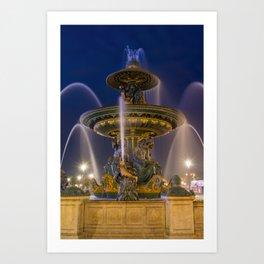 Fountain place de la Concorde Paris Art Print