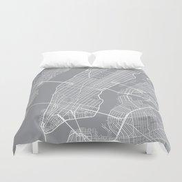 New York City Map, New York USA - Pewter Duvet Cover