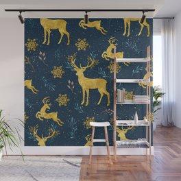 Golden Reindeer Wall Mural