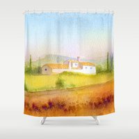 italian Shower Curtains featuring Italian villa by Carl Conway