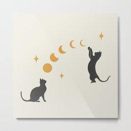 Cat and Moon 1 Metal Print