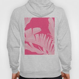 Chill Pink Tropical Banana Leaves Design Hoody