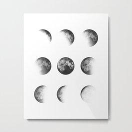 MOON PHASES • white Metal Print