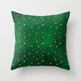 Golden stars on vivid green Throw Pillow