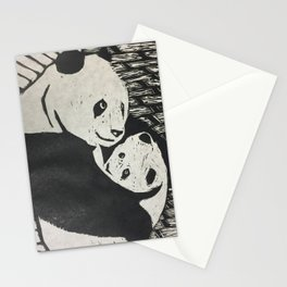 Mom Panda - Woodcut Engraving Stationery Cards